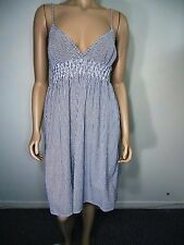 H&M Divided Dress Strappy White and Gray Striped / Pinstripe Dress SZ 12