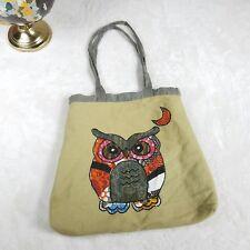 VTG Patchwork Owl Canvas Tote Bag Purse Teacher Student College