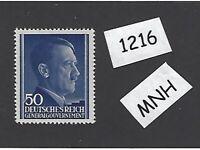 #1216     MNH 1943 stamp 50 Gr / Adolph Hitler /  Occupied Poland / Third Reich