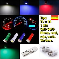 4 bombillas LED T5 1 SMD 5050 para indicadores coche cuadro de mandos reloj 12v