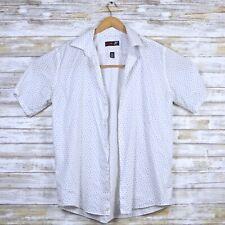 JF J. Ferrar Mens SLIM Casual Printed Shirt Short Sleeve Large L 16 - 16 1/2