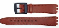 New Condor 16mm(19mm) Leather Strap Compatible for Swatch® Skin Watch Brown SC15