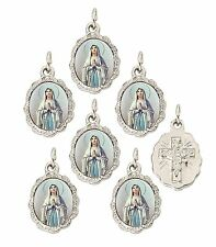 "Lady of Lourdes Silver Tone Small Medal Pendant, 0.50"" W x 0.75"" L, Pack of 6"