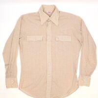 VTG Levis Mens Western Pearl Snap Shirt 15.5/34 Biege Cream Gingham Check