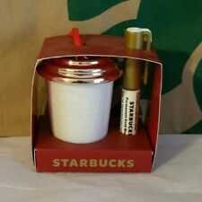 New Starbucks CREATE YOUR OWN ORNAMENT WHITE/GOLD Cup Tumbler MERMAID LOGO 2013