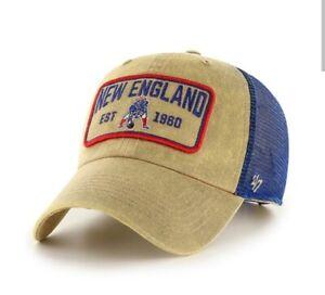 New England Patriots hat cap nwt new adjustable khaki blue 47 Brand Clean Up