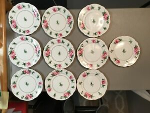"""10 Hammersley & Co. Bone China England Pink Rose w/Gold Trim 9"""" Luncheon Plates"""
