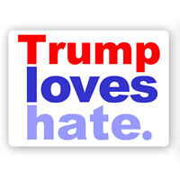 CS241 - Trump Loves Hate - Anti President Donald Trump Color Sticker 2016