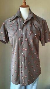 Vintage 70s handmade women's hunting shirt foxes gun pad S/M