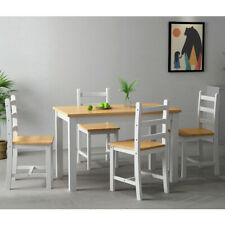 Thick Pine Solid Wood Dining Table with 4 Chairs Set Kitchen Home Furniture