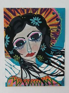 Frida Kahlo Angel  Original Mexican Folk Art  Abstract Painting 11 x14