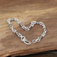 Men's Solid 925 Sterling Silver Bracelet Link Chain Loop Vajra Jewelry