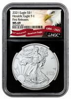 2021 American Silver Eagle T-1 NGC MS69 FR Black Core Holder Excl Eagle PRESALE