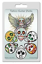 6 Pack Picks Tattoo Wicked Cool Skulls Medium Gauge Day of Dead Skull Picks USA