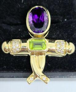 Dancer 14K Yellow Gold Natural Amethyst, Peridot & Diamond Reversible Pendant