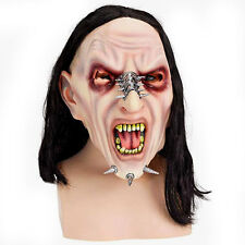 VAMPIRE MASK MENS EVIL SPIKED PUNK ROCK COOPER LATEX MASK & LONG BLACK HAIR NEW
