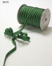 """MAY ARTS RIBBONS~GROSGRAIN WITH STITCHED EDGE~PARROT GREEN & WHITE~3/8"""" X 3 YDS!"""