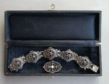 Antiker Trachtenschmuck - 835er Silber - Armband und Brosche - um 1900