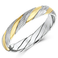 ''SALE'' Hand Made 9ct Yellow & White Gold Patterned Twist Wedding Ring 4mm