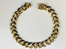"10kt solid Yellow gold handmade Curb Link mens bracelet 9"" 40 Grams10 MM"