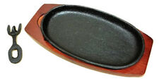 Cast Iron Steak Fajita Sizzling Platter Plate w/ wooden holder