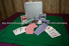 100 Piece 11.5 gram Poker Cards Chip Game Set with Dice Case Green table sheet