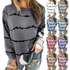 Women Long Sleeve Crew Neck Striped Print Blouse Casual Loose Tunic Tops T Shirt