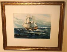 Full-Rigged Sailing Ship Watercolor Painting-c.1950s-John Grabach
