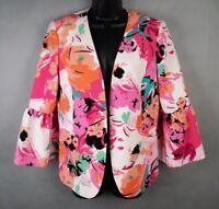 Nine West Womens Blazer Jacket Urban Explorer Hibiscus Floral Size 8