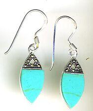 "925 Sterling Silver Turquoise & Marcasite Drop / Dangle Hook Earrings  L 1.3/8"""