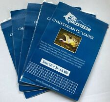 """5 x packs """"Chalkstream"""" Tapered flyline leader all length 9',12',15' all sizes"""