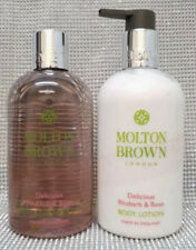 Molton Brown Delicious Rhubarb & Rose Bath Shower Gel + Body Lotion Set 2x 300ml