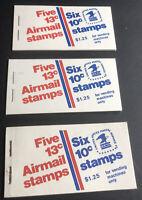 3 MNH Booklets - $1.25 - Scott#: BK126  FACE $3.75 SCV $21.96 13c Airmail 558