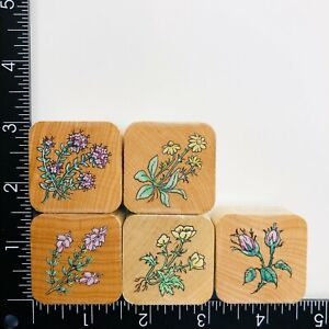 Stampendous Wildflower Nestling Set of 5 Wood Mounted Rubber Stamps Flowers