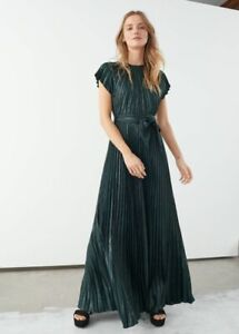 & Other Stories Metallic Pleated Maxi Dress 14 New Sleeveless Green Current £135