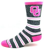 Oklahoma Sooners NCAA Heather Gray Pink Melange Stripe Crew Socks