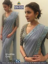 Indian/Pakistani Bollywood Designer Anoushka Sharma Grey Saree, Sari