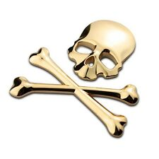 1pc 3D Car Logo Metal stickers Emblem Badge Decals Skeleton Skull Bone Golden A