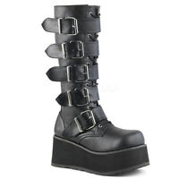 Demonia Matte Black Platform Mega Buckle Boots Rivet Goth Punk Club Mens 4-13