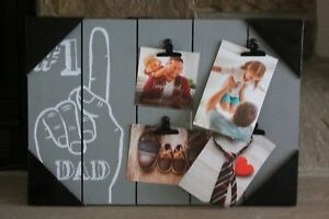 "WOOD PALLET PICTURE FRAME 18 1/2 x 13""   GREY HOLDS 4 PICTURES #1 DAD FARMHOUSE"