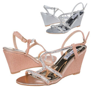 SheSole Womens Ladies Diamante Wedge Sandals Comfy Bridal Party Wedding Shoes