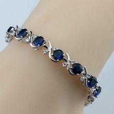 "Sterling Silver Dipped Blue Sapphire White Topaz Tennis Bracelet Curved cross 7"""