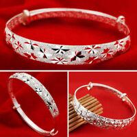 Fashion Jewelry Sterling 925 Silver Women's Charm Bangle Bracelet Nice Hot Sale