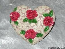 VINTAGE 80'S CERAMIC RED ROSE BLOOM HEART SHAPED TAC PIN