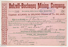 Share Scrip - Mining. 1902 Dalzell-Buchanan Mining Co - White Horse Ranges Vic