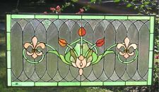 "Tiffany Style Stained Glass Window Panel ""Fleur De Lis"" 32"" x 16"""