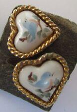 boucles d'oreilles clou bijou vintage coeur camée porcelaine couleur or 405
