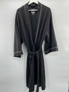 Fruit of the Loom Men's Waffle Robe One Size Black with Grey Accents