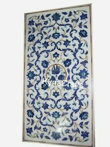 Blue Stone Inlay Work Dining Table Top White Marble Patio Sofa Table 30x60 Inch