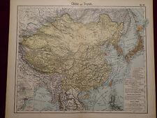 Landkarte von China und Japan, Peking, Tokio, Mongolei, Otto Herkt 1905